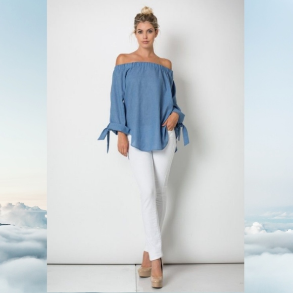 2c6af61a4468ac True Love Tops | Nwt Chambray Casual Off The Shoulder Tie Sleeve ...